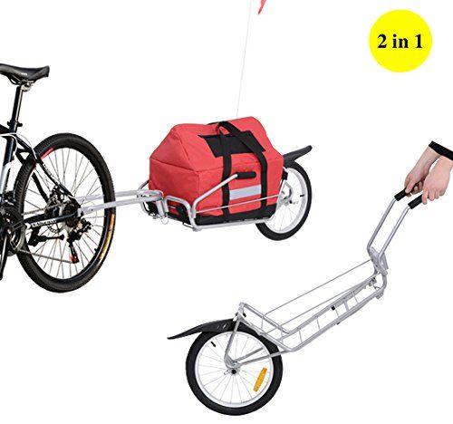 Aosom 2 in 1 Single Wheel Bicycle Bike Cargo Trailer Garden Utility Cart Carrier w/ Storage Bag, Silver/Red: Amazon.ca: Sports & Outdoors