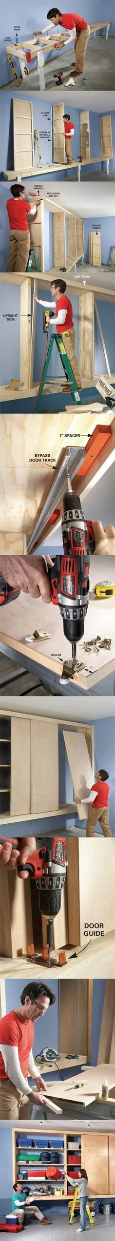Giant DIY Garage Cabinet Plans: Build your own shelving and storage area for the garage. http://www.familyhandyman.com/garage/storage/giant-diy-garage-cabinet/view-all