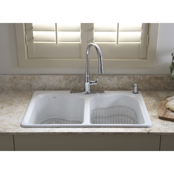 Shop KOHLER Hartland 22-in x 33-in White Double-Basin Cast Iron Drop-In 4-Hole Commercial Kitchen Sink at Lowes.com