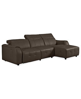 Novara Leather Reclining Sofa 3 Piece Power Recliner Sectional (Power Recliner Chair Armless Chair and Chaise) x x - Furniture - Macyu0027s  sc 1 st  Pinterest : chaise recliner chair - Sectionals, Sofas & Couches