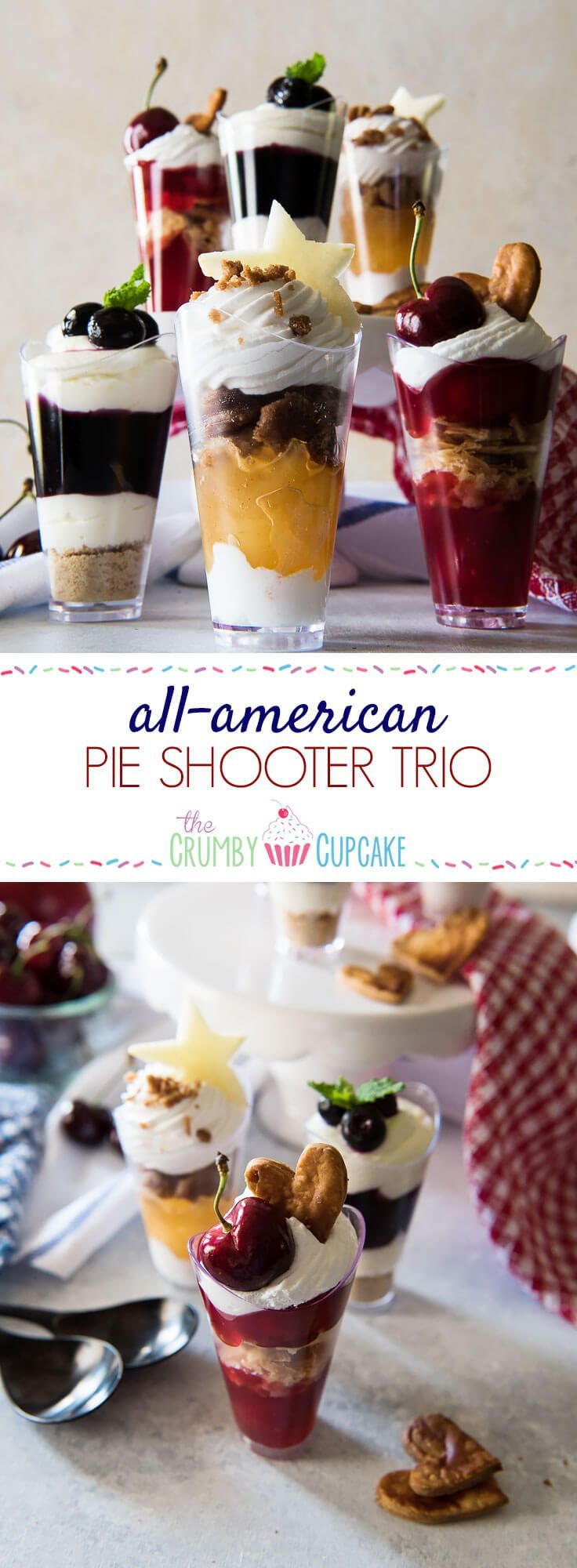 Celebrate your Independence - from plates! This tastyAll-American Pie Shooter Trio has all your favorite patriotic flavors covered - apple streusel, blueberry cheesecake, and classic cherry. And the best part? All you need is a spoon to enjoy them, making them perfect for every summer party! #SundaySupper
