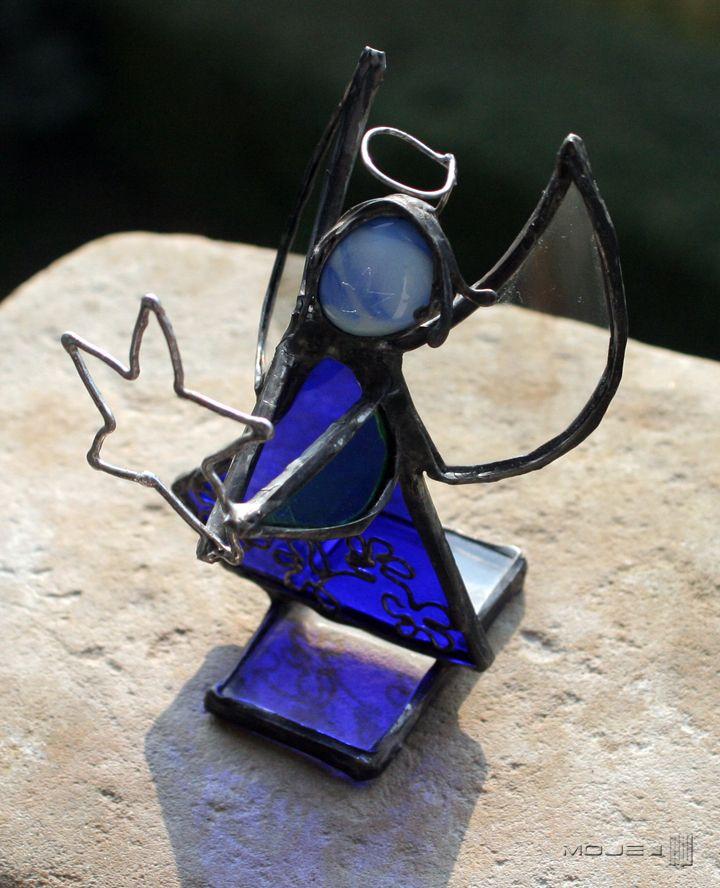Anioł / Angel. Witraż Tiffany. Glass. Dekoracje do domu. Dekor stojący. Glass Angel. Moje MW