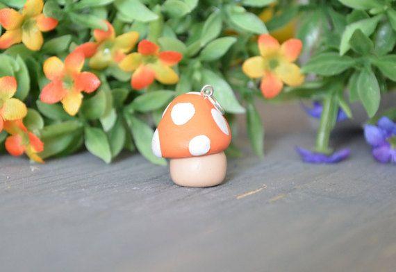 Mario Mushroom Charm, Red Mushroom Charm, Polymer Clay Charm