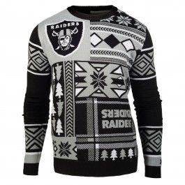 Oakland Raiders Patches Crew Neck Sweater (Black)