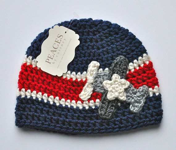 Red White & Blue Airplane Baby Beanie Hat Baby by peacesbycortney, $30.00