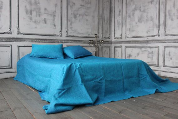 Soft Linen Sheet Set Blue Water Stone Washed Organic Natural