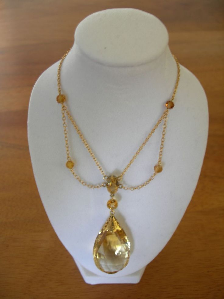 9 best citrine jewelry inspiration images by bess bless on pinterest a dramatic edwardian vermeil and citrine festoon style necklace with a large pear shaped citrine pendant at the center aloadofball Choice Image