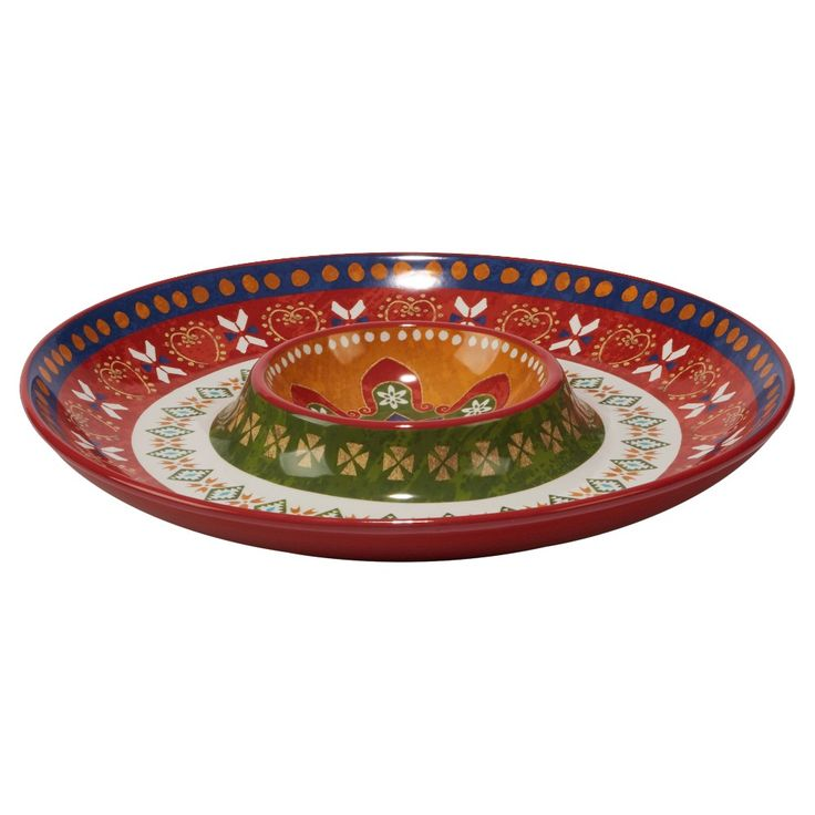 Certified International Monterrey by Veronique Charron Ceramic Chip and Dip Bowl Set Red