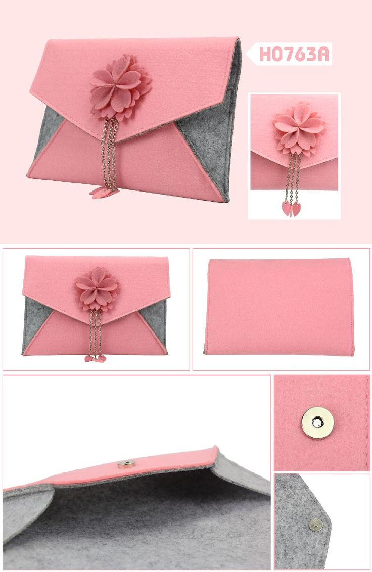 Felt sakura series flap envelope clutch bag  Description:        ● Material:2+1MM felt    ● Size:25*17CM    ● Big logo printing area    ● OEM design is welcome www.ideagroupigm.com