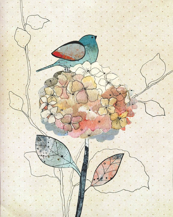 Bird Painting , Watercolor Painting , Mixed Media Collage Reproduction , Nature Art , Whimsical Art Print , 8x10. $20.00, via Etsy.