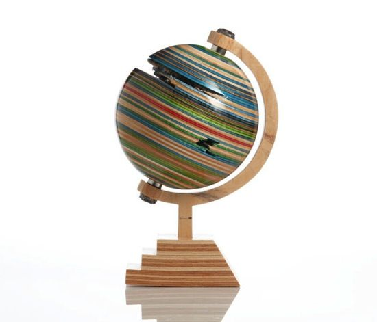 Cool globe—upcycled skateboard art—this artist's work is so cool❣