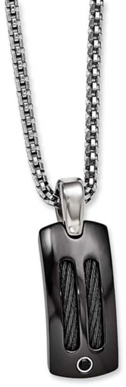 """Zales Midnight Cable by Edward Mirell Midnight Two-Tone Titanium Cable Pendant with Black Spinel - 20"""""""