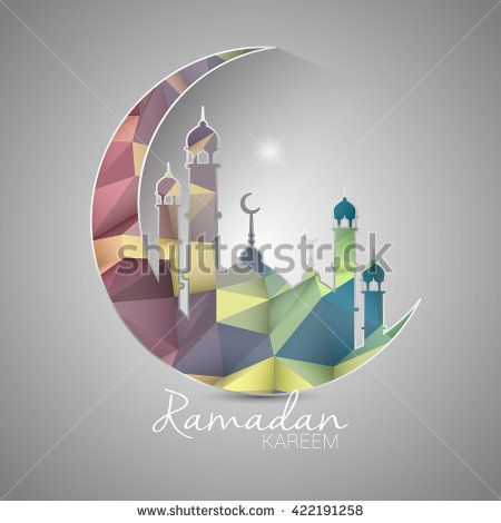 Ramadan Kareem greeting card with low poly design