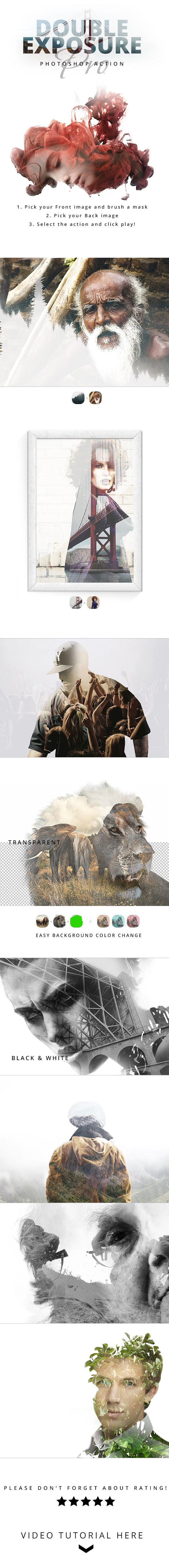 Double Exposure PRO Photoshop Action - Photo Effects Actions