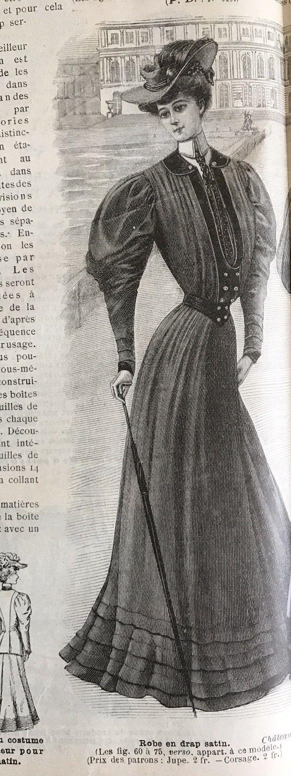 French MODE ILLUSTREE SEWING PATTERN January 29,1905 ROBE EN DRAP SATIN   eBay