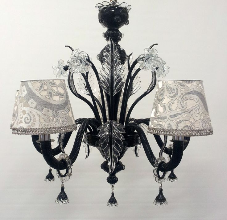 authentic italian murano black and crystal hand blown glass chandelier with rubelli fabric lamp shades made in venice - Blown Glass Chandelier