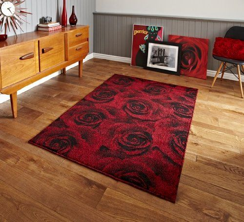 Soft Elegant Red Rose Printed Rugs Tolka 132 3 Sizes Available The Rug