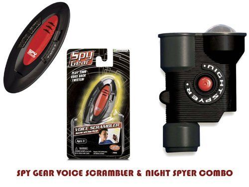 TS-70055/TS-70056 SPY GEAR VOICE SCRAMBLER & NIGHT SPYER COMBO by RTE. $19.99. Spy Gear Voice Scrambler. Spy Gear Nightspyer. Go on your secret missions with this Micro Spy Voice Scrambler! This cool item disguises your voice for the spy on the go!  See in the Dark up to 25 Feet The Micro NightspyerTM lets you illuminate the night on your secret spy mission. Press a small button and a red tinted focused light beam allows you to see your target in the dark. The 2X...