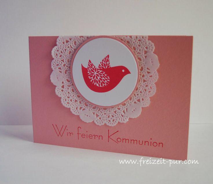 Kommunion/Konfirmation StampinUp! Betsy's Blossoms, Spitzendeckchen, Taube/Vogel, Einladung zur Kommunion