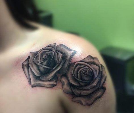 Black and grey shoulder rose tattoo ideas