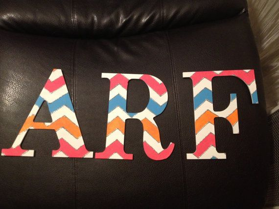 Personalized Wood Chevron Painted Letters or Initials on Etsy, $30.00