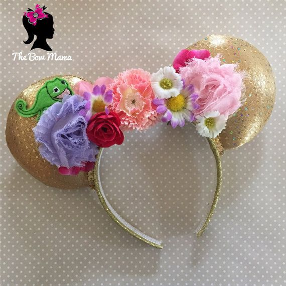 Tangled Rapunzel Pascal inspires floral mouse ears by TheBowMama