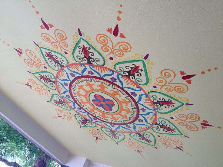 Mehndi ceiling mural, a little bit of the suzani pattern thrown in. Lots of