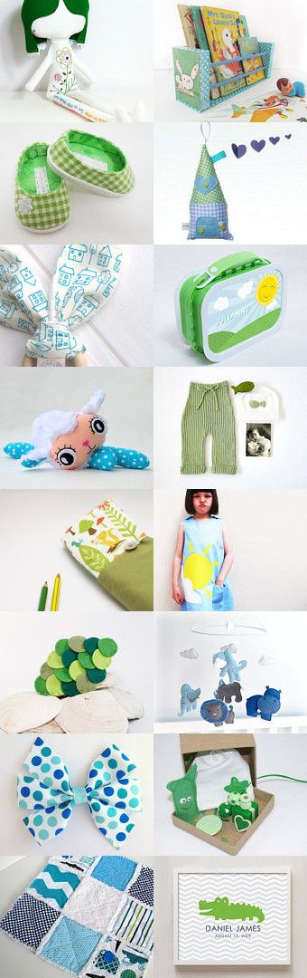 Tell me a story by Je Suis Mimi Atelier on Etsy. Gift guide for children in green and blue.