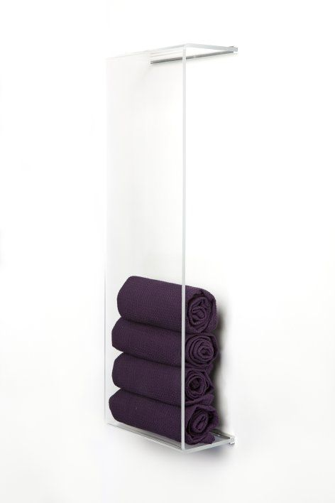 """Show-it hub is meant for up-rolled towels in the bathroom. It can also used in the kitchen for kitchen towels or the living-room for magazines and newspapers. This gives texture to plain walls and gives the consumer an opportunity to change their color schemes in a easy way."" (but I think I could do it myself with some plexi)"