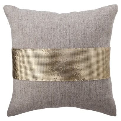 Nate Berkus for Target Gold Mesh and Tweed Pillow: Nate Berkus, Target Bedrooms, Pillows Tweed, Toss Pillows, Gold Mesh, Tweed Toss, Throw Pillows, Gold 16X16, Gold Pillows