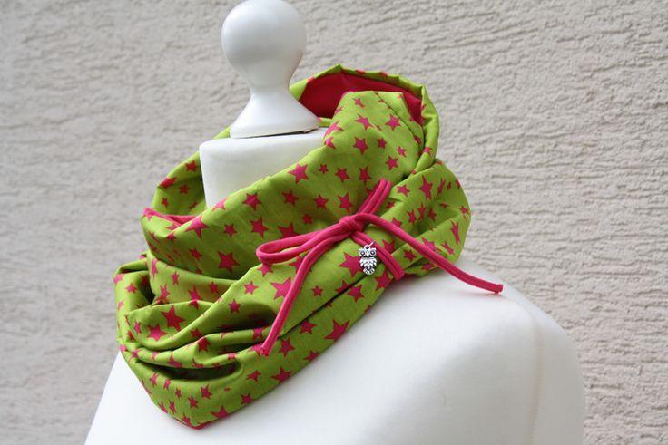 Zum Wenden - Schlauchschal Eule Sterne Himmel grün pink Schal - ein Designerstück von trixies-zauberhafte-Welten bei DaWanda