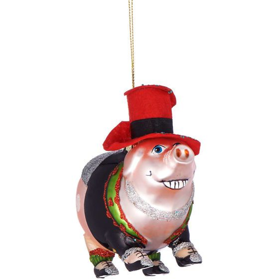 HANG ON Silvester Schwein mit Hut, Glas