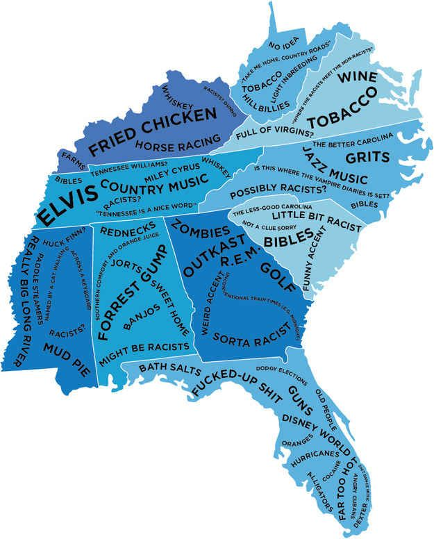 The South East.   The Stereotype Map Of Every U.S. State — According To British People