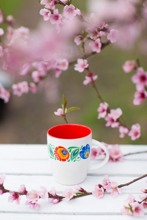 Kubek FOLK - ludowe kwiaty łowickie | czerwony