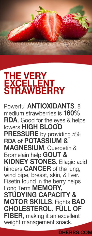 The Berry Excellent strawberry  Powerful ANTIOXIDANTS. 8 medium strawberries is 160% RDA. Good for the eyes & helps lowers HIGH BLOOD PRESSURE by providing 5% RDA of POTASSIUM & MAGNESIUM. Quercetin & Bromelain help GOUT & KIDNEY STONES. Ellagic acid hinders CANCER of the lung, wind pipe, breast, skin, & liver. Fisetin found in the berry helps Long Term MEMORY, STUDYING CAPACITY & MOTOR SKILLS. Fights BAD CHOLESTEROL.