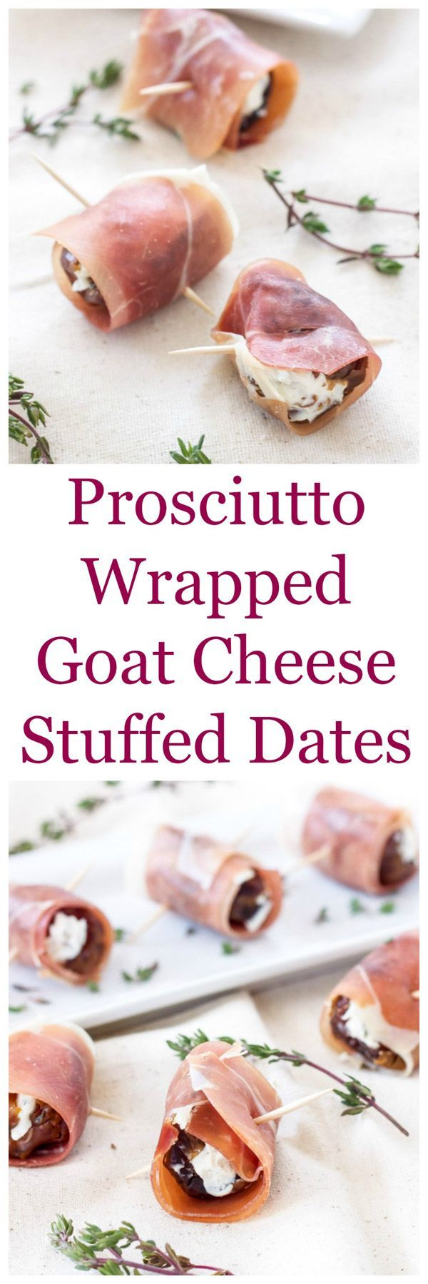 Prosciutto Wrapped Goat Cheese Stuffed Dates | A drool worthy one bite, easy to make, sweet and salty appetizer! | www.reciperunner.com