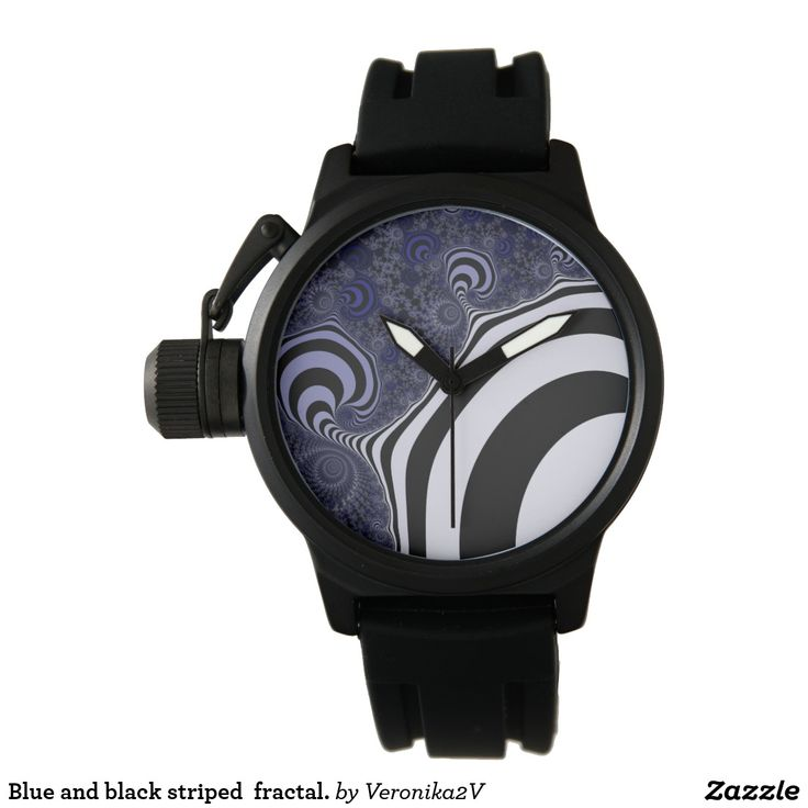 wristwatch #wristwatch Blue and black striped fractal pattern. Fractal paws. Computer generated fractal. Cold colors fractal. Funny strips. Modern style. #customized #personalized #POD #graphics #artwork #buy #sale #giftideas #zazzle #discount #deals #gifts #shopping #mostpopular #trendy #cool #best #unique #stylish #gorgeous #abstract #bee #black #blue #coldcolors  #duotone #fractal #pattern #paw #locator #striped #suction #white #dark #funnystrips #modern
