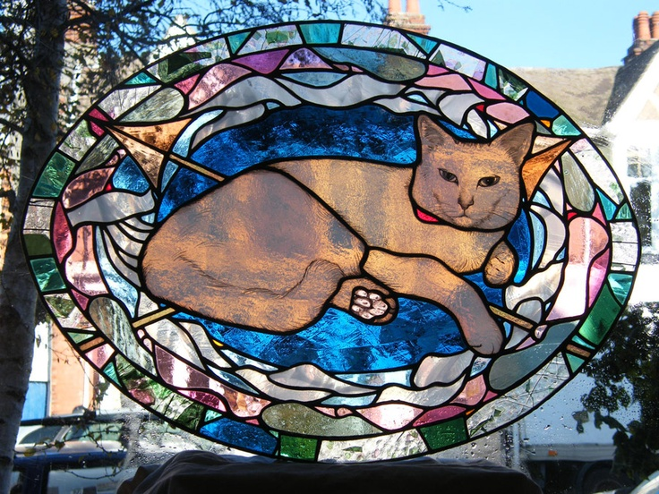 Cat & Mouse window, copperfoiled, stained glass