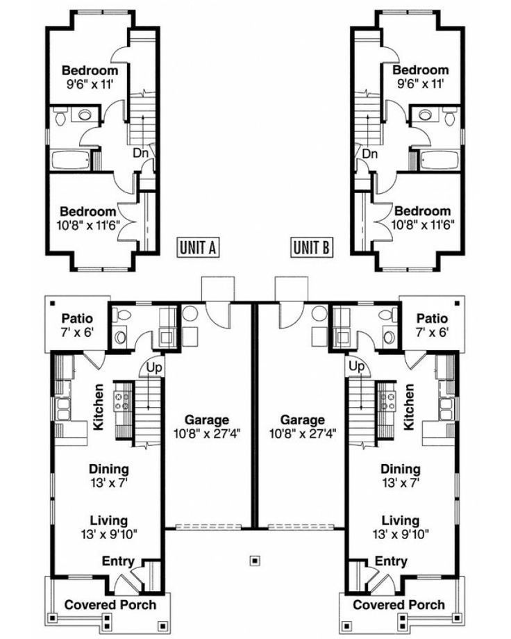 Two story duplex with garage details maybe add a for Best duplex plans