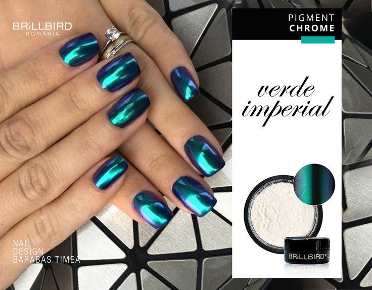 Culori extrem frumoase, cu Pigment Chrome - Verde Imperial  http://brillbird.ro/categorie-produs/decor_unghii/sclipici-decor_unghii/pigment-oglinda/