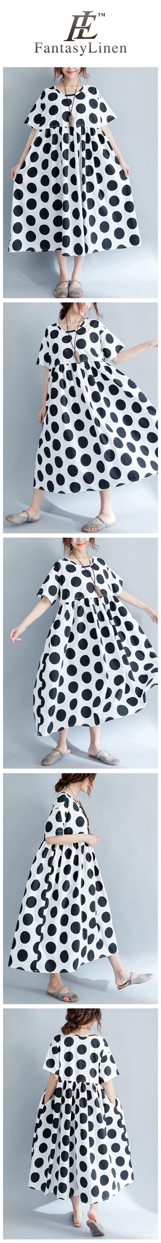 2017 Black Dot Casual Plus Size Loose Long Dress Women Clothes Q1806