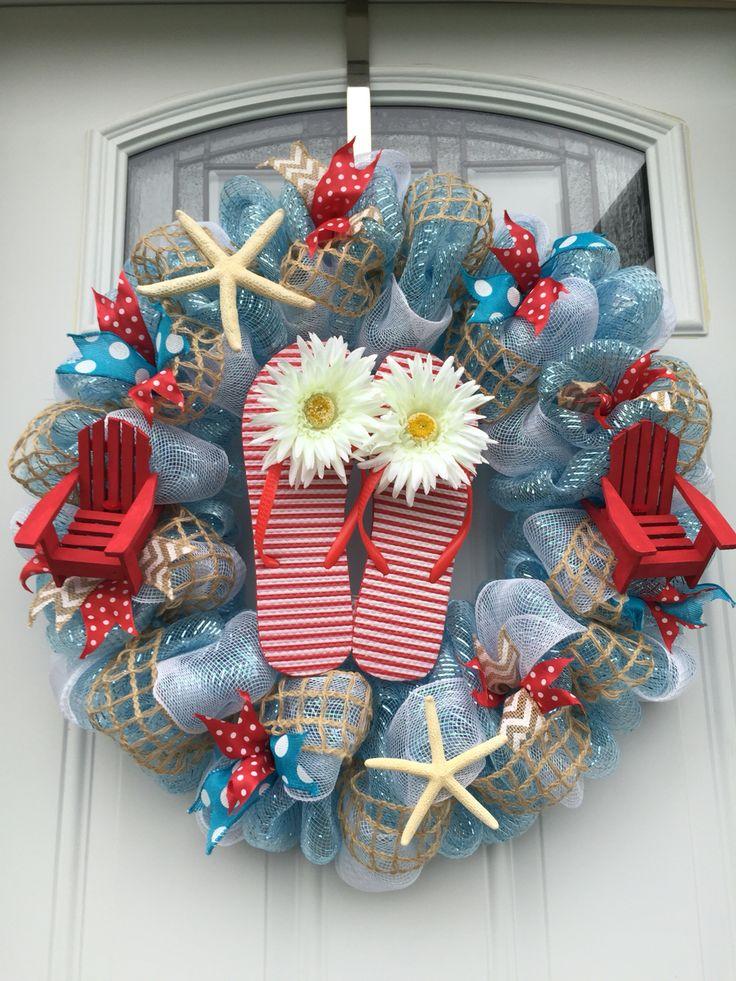 Summer beach theme blue and red flip flop deco mesh wreath