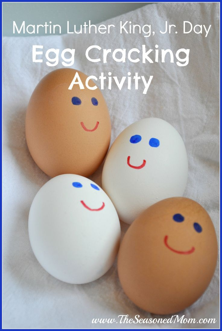 Martin Luther King, Jr. Day Egg Cracking Activity: indoor fun for preschoolers!  The Seasoned Mom