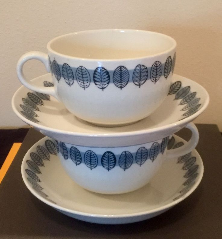 Arabia Cups & Saucers / Linnea Pattern / Free USA Shipping! by ModernaireMCMStudios on Etsy
