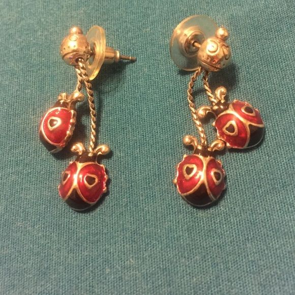 Brighton earrings Brighton silver, red, and black lady bug earrings with heart design Brighton Jewelry Earrings