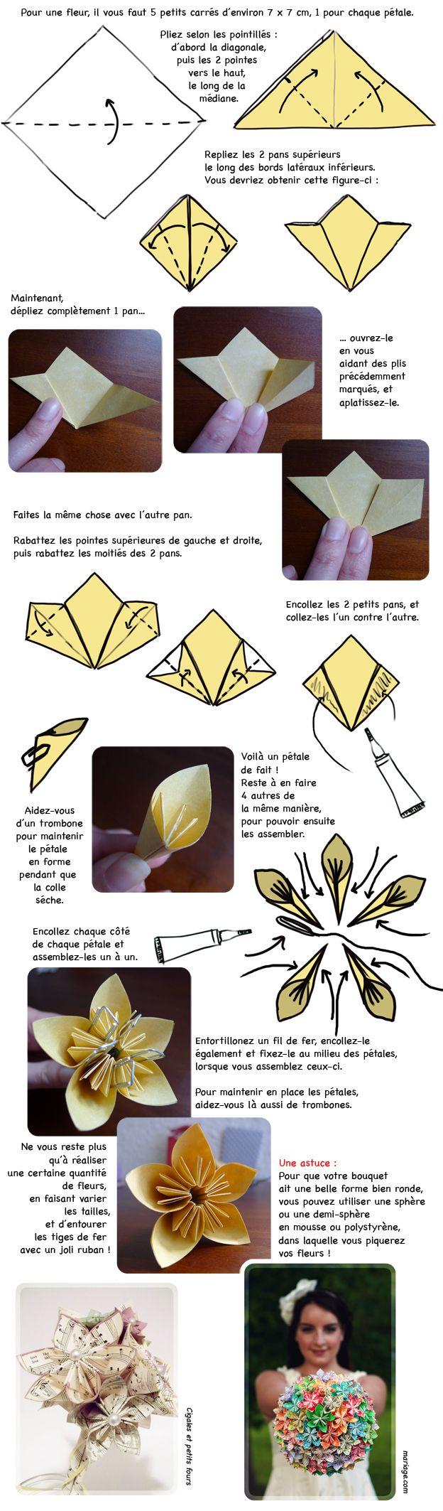 DIY mariage : fabriquer un bouquet de mariée origami - Loisirs créatifs