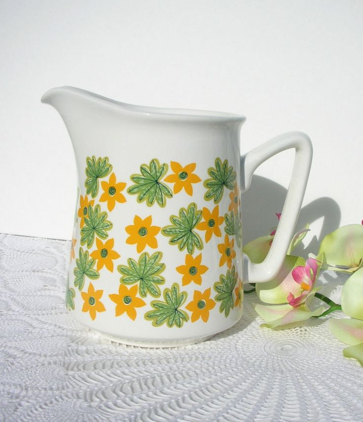 "Vintage Stavangerflint Orange Green Floral ""May"" Pitcher Norway by Inger Waage"