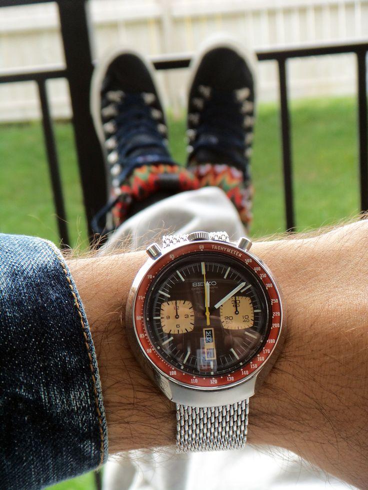 Vintage Seiko Bullhead Chronograph Watch