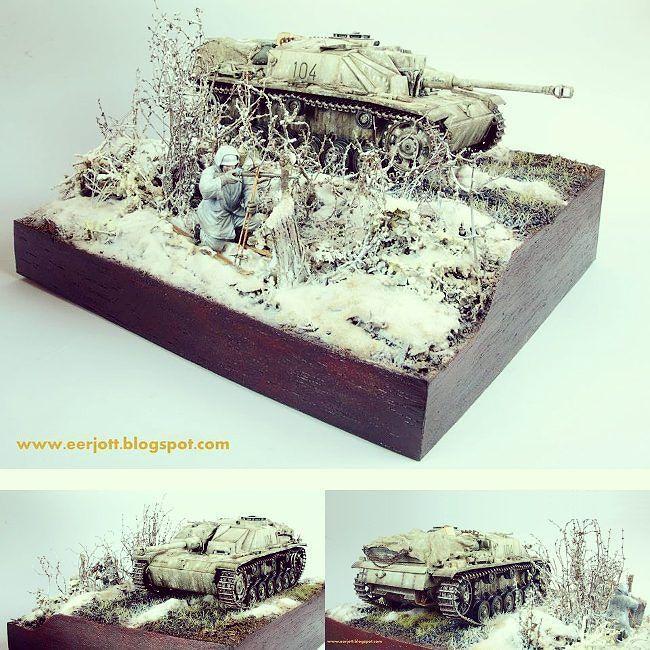 Stug III - winter theme 1/35 diorama. Modeler Slav from Poland #scalemodel #plastimodelismo #miniatura #miniature #maqueta #maquette #modelismo #modelism #plastickits #plastickit #usinadoskits #plastimodelo #plasticmodel #plamodel #miniatur #udk #diorama