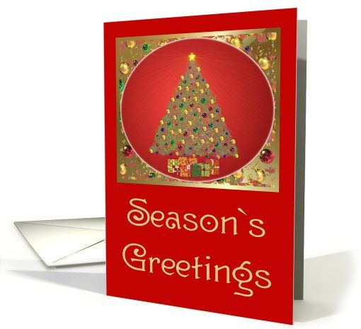 Christmas-Seasons Greetings-Tree-Gifts card (520481)